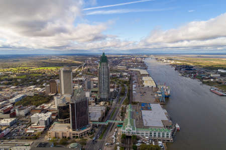 Downtown Mobile, Alabama cityscape and skyline