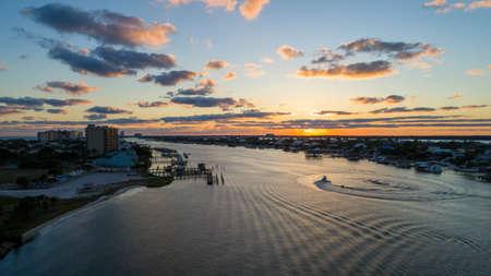 Aerial view of Perdido Key Beach, Florida at sunset Foto de archivo
