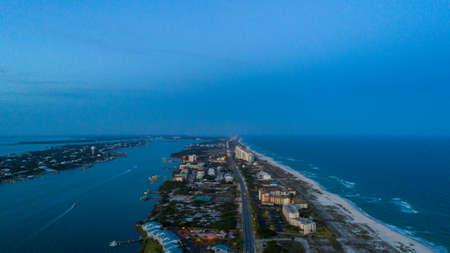 Aerial view of Perdido Key Beach, Florida at sunset