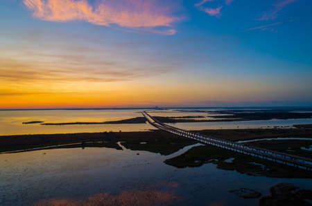 Mobile Bay, Alabama at sunset in November of 2020