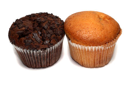 break fast: Two delicious muffins isolated on white Stock Photo