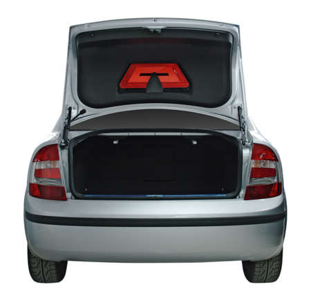 rear wheel: Rear view of a car with an open trunk