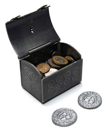estonian: Open chest with polish and estonian coins isolated on white background