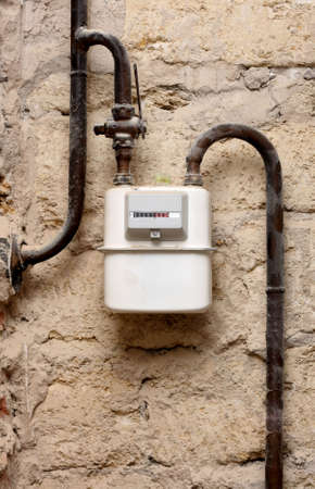 gas meter: Gas meter in a house under renewal Stock Photo