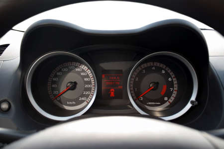 Isolated dashboard of a car, you can insert anything in front of the car photo