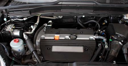 exhaust valve: Open engine of a modern car