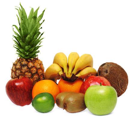 Colorful fresh fruits isolated on white background photo