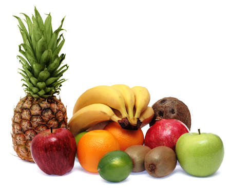 Group of fresh ripe fruits isolated on white background photo
