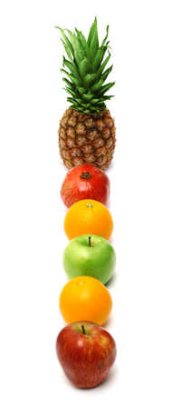Row of bright fresh fruits isolated on white background photo