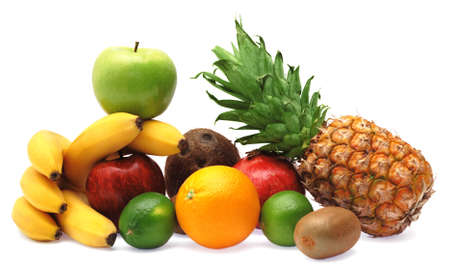 Colorful fresh fruits isolated on white background photo