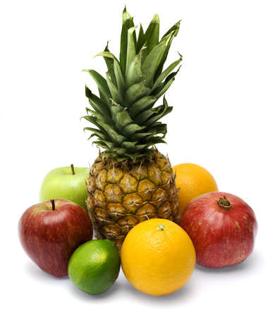 Group of fresh fruits isolated on white background photo