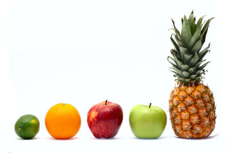 Row of fresh ripe fruits isolated on white background photo
