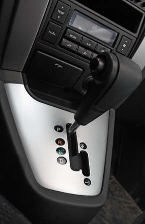 gear handle: Auto gear shift handle closeup Stock Photo