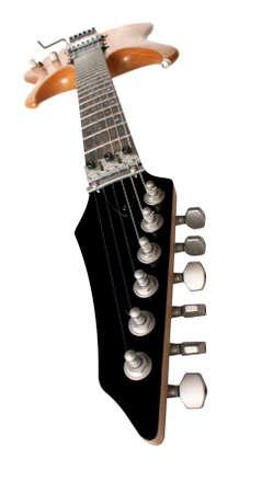 tremolo: Chitarra elettrica grandangolari tiro isolato su sfondo bianco
