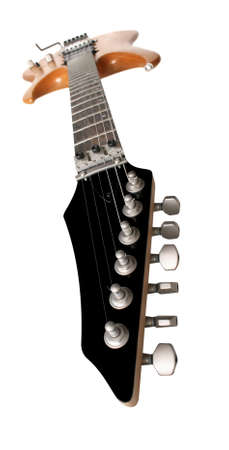 amplified: Electric guitar wide-abgle shot isolated on white background