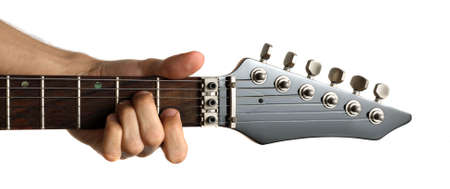 fingering: Hand fingering Am chord on electric guitar, isolated on white background
