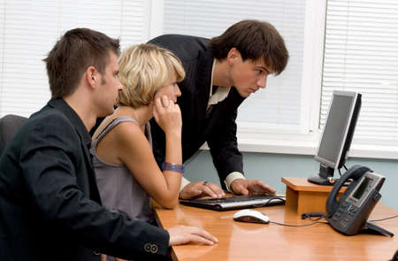 Business team working at the computer photo