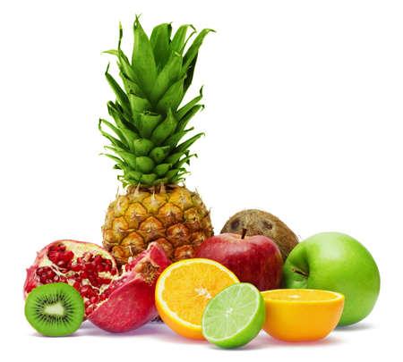 Group of fresh fruits isolated on white background Stock Photo - 4851121