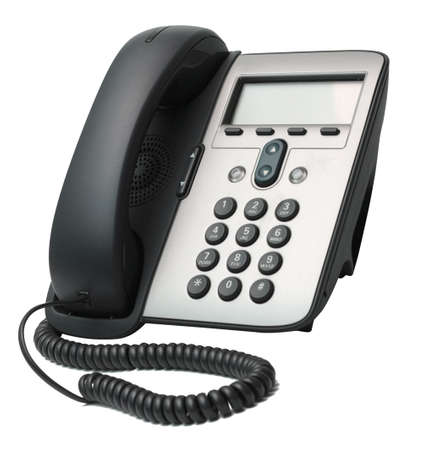 Modern VoIP Phone isolated on white background photo