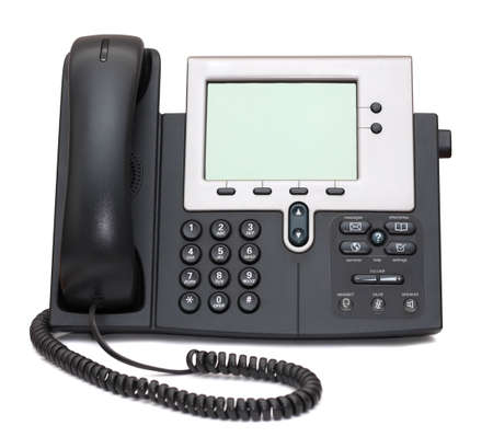 Two-channel IP Phone isolated on white background photo