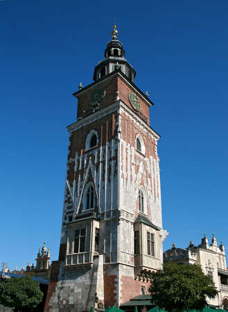 Old tower on the central square of Krakow, Poland photo