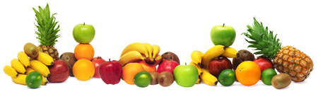 Group of fresh fruits isolated on white background photo