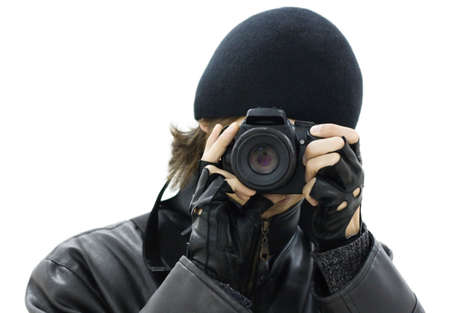 spy camera: Spy photographer dressed in black