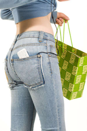 back pocket: Shopping girl, isolated on white background