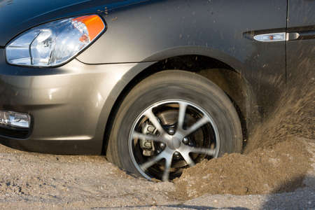 stuck: Car stuck in sand