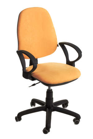 Yellow office chair isolated on white background photo