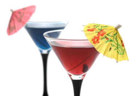 Two refreshing cocktails with umbrellas photo