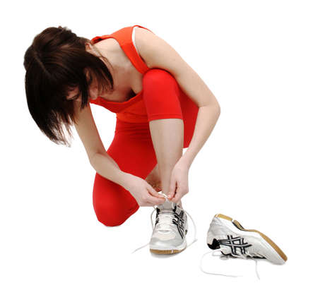 fast foot: Woman getting ready for a run