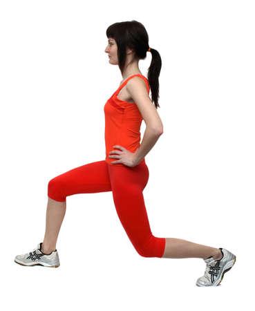 Woman doing exercises isolated on white background photo