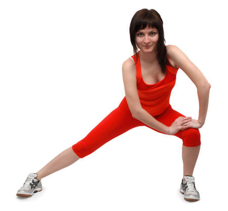 Woman doing exercises isolated on white background Stock Photo - 4832748