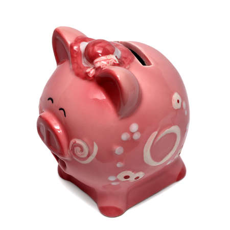 Round piggy bank isolated on white backgorund photo
