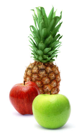 Fresh pineapple and apples, isolated on white background photo
