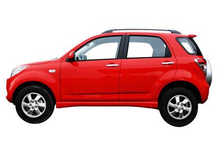 Rode moderne nieuwe auto geïsoleerd op witte achtergrond, zijaanzicht Stockfoto