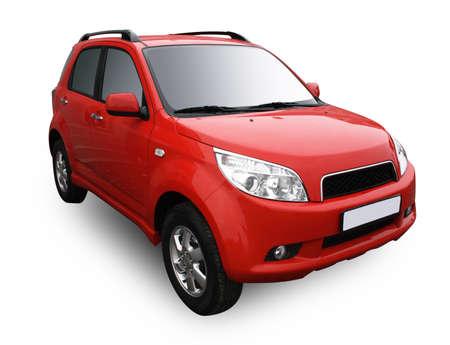 Rode moderne auto geïsoleerd op witte achtergrond