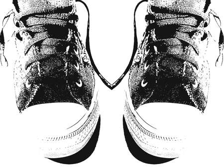 スニーカー: ビンテージ スニーカーのペアのスケッチ