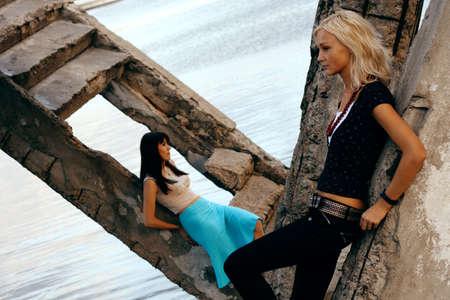 Fashion models outdoor photo photo