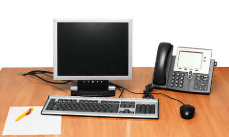 working place: Modern Working Place with Computer and VoIP Phone