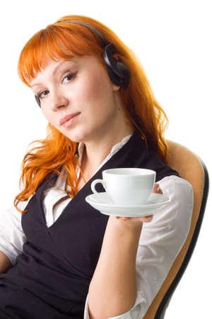 Attractive businesswoman having a coffee break Stock Photo - 4940510