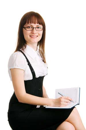 Cheerful businesswoman on white background photo