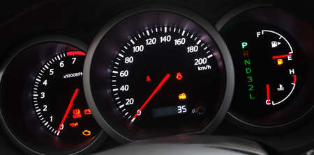 Car Dashboard closeup with glowing arrows photo