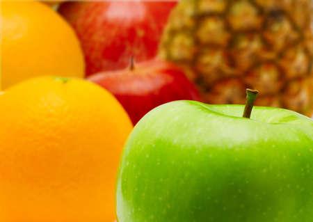 Fresh apple and citrus fruit closeup photo