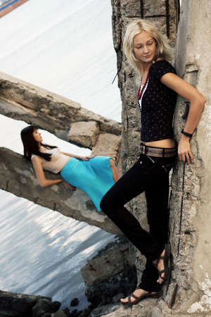 Fashion models outdoor photo photo