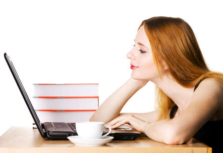 Young girl surfing the internet at her laptop Stock Photo - 5295680