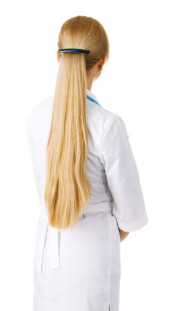 back straight: Young woman with beautiful long blonde hair