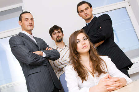 sucessful: Sucessful business team, focus on woman