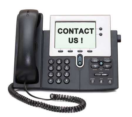Two-channel IP Phone with Contact us! sign on display photo